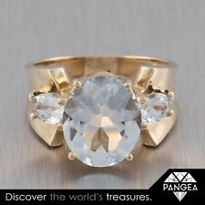 Retro 1940s Estate 14k Yellow Gold 3 Stone Aquamarine Ring, 5.6 grams Size 6.5