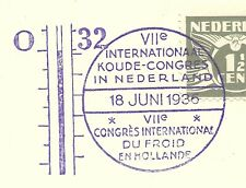 "NETHERLANDS: Special Postmark ""Int. Cold Congress 1936""/ thermometer/ on piece"