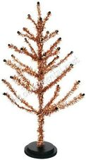 Vtg Orange Black Tinsel Feather Halloween Thanksgiving  Christmas Tree 18 inches