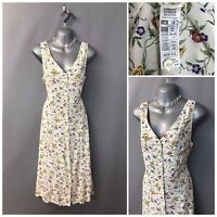 Vintage St Michael M&S Cream Floral Buttoned Dress UK 18 EUR 46 48 Sleeveless