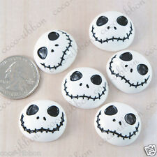 25mm 12pc White Skull Skeleton Halloween Flatback Resin Cabochons C11