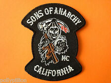 MOTORCYCLE RIDER BIKER SEW/IRON ON PATCH:- GRIM REAPER CALIFORNIA