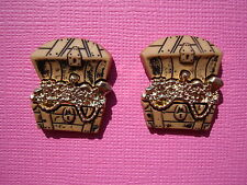 FUNKY PIRATE TREASURE CHEST EARRINGS GOLD FANCY DRESS UP KITSCH COOL FUN NOVELTY