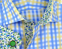 Yellow Blue Luxury Twill Egyptian Cotton Formal Business Dress Shirt Flowers Top