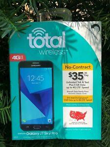 "Total Wireless Verizon Network Black Samsung Galaxy J7 Sky Pro SM-J727 5.5"" 16GB"