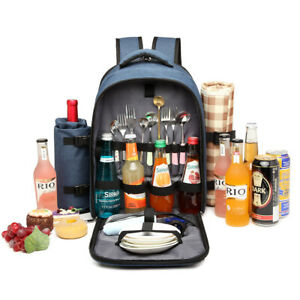 Large 4 Person Picnic Backpack Cooler Bag Insulated Hamper Bottle Holder&Blanket