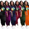NEW Stylish Women O Neck Lips Print Half Sleeves Bodycon Maxi Shift Dress Party