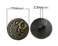 5PCS Quality Bronze Metal Flower Carving Round Shank Buttons Craft DIY 17MM/26L