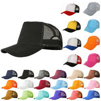 Mesh Baseball Cap Trucker Hat Blank Curved Visor Hat Adjustable Plain Color Zu