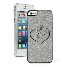 For Apple iPhone 4 4S 5 5S 5c GLITTER Bling Hard Case Cover Heart Horse