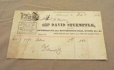 WILLIAMSPORT, PA 1886 DAVID STUEMPFLE DEALER IN COAL, STONE ETC., RECEIPT