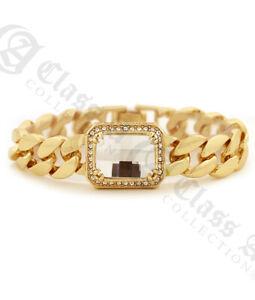 "18K GD PT Luxury Inspired Lab-Diamond w 15mm 8"" High Polished Cuban Bracelet 757"