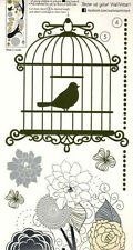 BRANCH with FLOWERS BIRD CAGE wall stickers 22 decals gold silver leaf decor