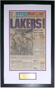 Kareem Abdul-Jabbar Autographed Lakers 1987 Champions Herald PSA DNA COA Framed