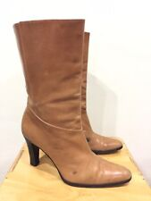5c81163b0 $795❤ Gucci Mid Calf Boots Brown Leather Round Pointed Toe Sz 7.5