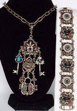 Unsigned Florenza Necklace Bracelet set Etruscan Byzantine style Locks & Keys