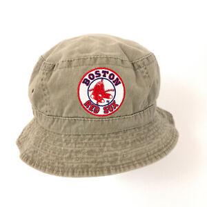 retro Boston Red Sox patch bucket hat cap beige cotton upto 7 1/2 hbv0