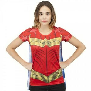 WONDER WOMAN SUBLIMATED costume cosplay Juniors t-shirt with cape S-M-L-XL