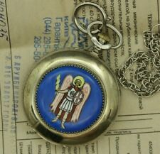 NEW Vintage Military Molnija Pocket Watch 50mm Kiev Enamel Archangel Michael