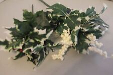 Artificial Flowers Berries White & Red 2 Bunches Silk Leaves Wire Stems Holly