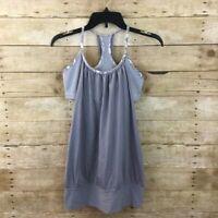 Women's Lululemon No Limits Tank Top Yoga Shirt Fossil Gray Stripe Floral Size 6