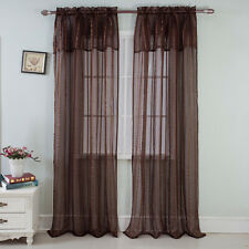 Gretchen Striped Rod Pocket Window Panel with Attached Valance, Chocolate, 54x90