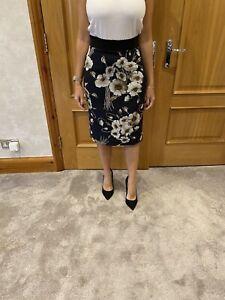 Dolce & Gabbana Black/navy Floral Silk Skirt/42