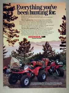 1986 Honda Big Red & FourTrax 250 ATVs vintage print Ad