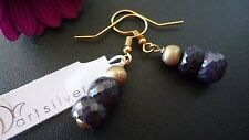 STUNNING,GENUINE 925 STERLING SILVER EARRINGS WITH FACETED SAPPHIRE