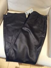 Leather Straight Leg Regular Mid Trousers for Women