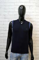 Maglione Uomo Fred Perry Taglia M Cardigan Pullover Lana Blu Smanicato Sweater