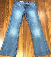 X2 Jeans Womens Size 2 Reg. ~Slim W10 Low Rise Flare Medium Acid Stone Wash Blue