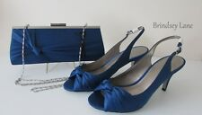 Jacques Vert French Blue Sateen Knot Detail Shoes Size 6/39 R2