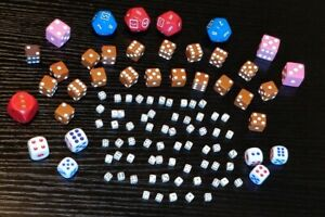 Lot 100 Assorted Vintage Loose Dice D6 Tiny Game Pieces White Color Brown D12