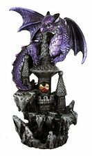 Purple Guardian Dragon on Castle Figurine Medieval Mythical Fantasy Decoration