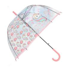 Kids Unicorn Umbrella Girls School Transparent Clear Bubble Dome 3 Colourful UK