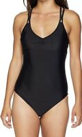NWT Speedo Xtra Life Lycra Black Solid Strappy One Piece Swimwear Womens Size XL