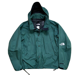 Vintage 90's XL The North Face Hunter Green Hooded Light Shell Hydro Seal