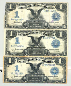 3x $1 Series 1899 Black Eagle Silver Certificates nice condition; minor defects