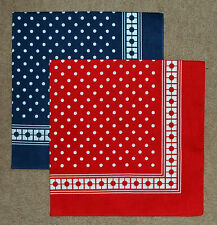 2 x MENS/LADIES NAVY & RED SPOT COTTON BANDANAS HANDKERCHIEFS NECKERCHIEFS