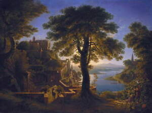 Karl Friedrich Schinkel Castle By River Giclee Canvas Print Poster LARGE SIZE