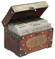 New Vintiquewise Antique wooden recipe card box, QI003015NEW