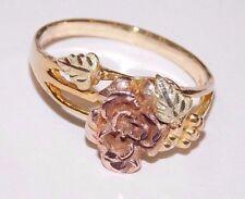 Black Hills Gold 10 kt 12 k Rose Accent Leaf Ring  Size 7 1/4 Mt Rushmore Gold