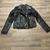 Blank NYC Size XS Black Dragonfly Stud Moto Faux Leather Jacket NWT