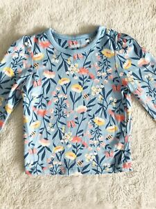 NUTMEG Kids 3-6 months Blouse Blue Floral Tshirt Baby 100% Cotton Floral Too