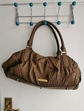 BURBERRY Luxury Leather studded ruched soft Brown Bag