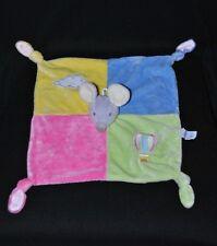 Peluche doudou souris plat GIPSY montgolfière nuage rose jaune vert bleu NEUF