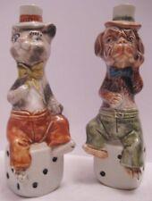 Old Pr Ceramic Cat Dog Sitting on Dice Liquor Decanters Vino Rosso Monalto Italy