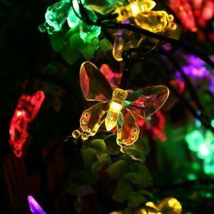 Solar Lichterkette 20 LED Schmetterlinge Beleuchtung Garten Party Außen Dekor DE