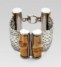 New Gucci Sterling Silver & Bamboo Wood Bracelet MSRP $1,890 Size 18